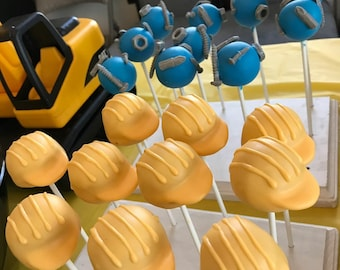 Bob the builder hat and nuts and bolts cake pops (12 pops)