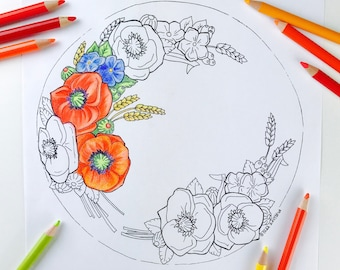 Poppies Flower Coloring Page for Adults | Digital Coloring Hand Drawn Flowers Line Art by Olga Zaytseva | Wreath Cake adult coloring page