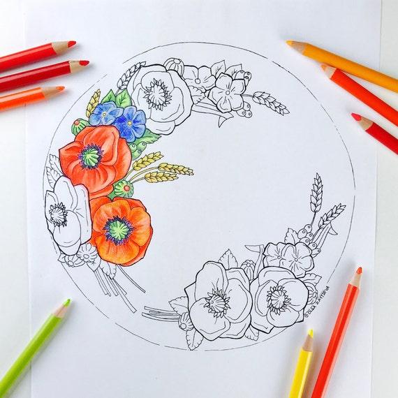 Mohn Blume Malvorlagen für Erwachsene Digitale Färbung von