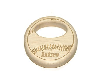 Wooden Baby Rattle, Wooden Baby Toy, Baseball Wood Rattle - Personalized Baby Gift