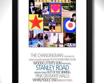 PAUL WELLER Stanley Road Album Limited Edition Unframed A4 Art Print with Song Titles