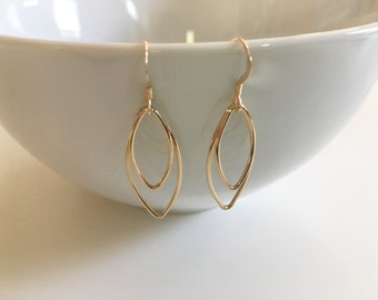 Gold-filled marquise link earrings