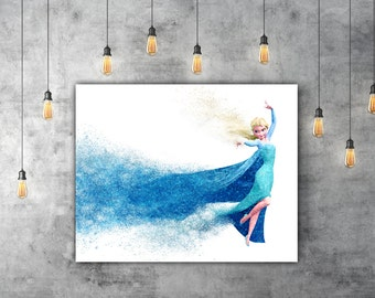 Disney Princess Decor, Disney Frozen Art, Elsa Print, Pixar Poster, Blue Glitter Print, Girls Room Decor, Disney Nursery Disney Movie Poster