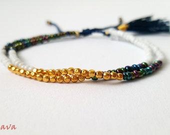Bracelet bracelet BOHO Tassel Gold white Blue