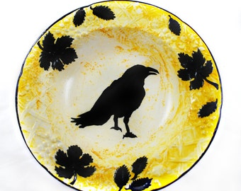 Multi-media Original Art - Decorative Ceramic Mikasa Hanging Plate - Raven Silhouette - Dark Decors - Gothic Gifts - Gifts under 50