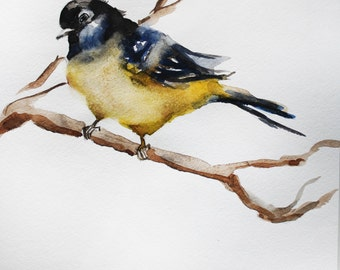 Print of Watercolor, Bird on a branch art, gift for her, home decor, PRINT Gift Spring Art, fine print, print art, watercolor print OOAK