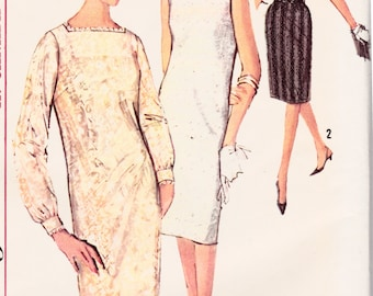 Vintage 1960's Women's Sewing Pattern Wiggle Sheath Dress Simplicity 5490 Size 12 Bust 32""