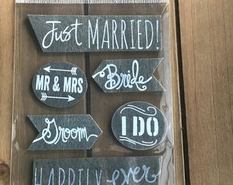 Just Married Scrap-booking Stickers  Mr Mrs Bride Groom Wedding Word  label Autocollants Six Piece (6)