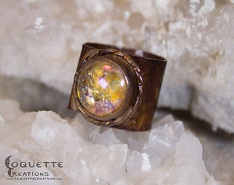 Aged Copper and Glass Ring