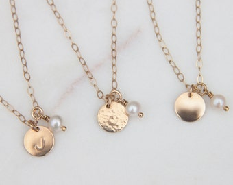 Set of Bridesmaid Initial Necklaces in Gold Filled or Sterling Silver, Set of Bridesmaid Necklaces, Bridesmaid Gifts, Initial Tags