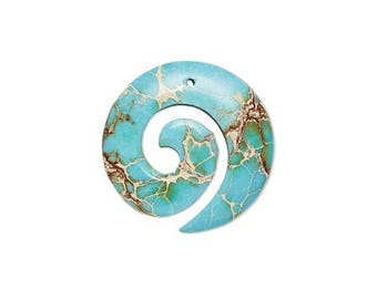 Focal gemstone component, magnesite dyed, magnesite turquoise blue 35mm, hand-cut round spiral 35mm magnesite.
