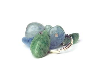 Blue gemstone adjustable cluster ring