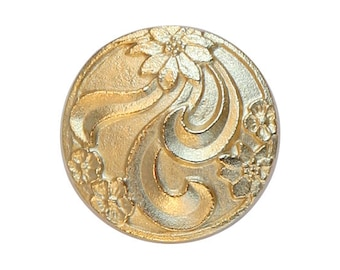 12 Floral 3/4 inch ( 20 mm ) Metal Buttons Gold Color