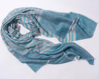 100% Cashmere Scarves: Aqua blue zebra stripe scarf