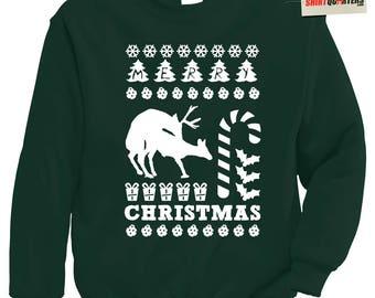 Humping Reindeer lovers mates mating ugly tacky Christmas Eve morning present winner santa claus mrs sweater keg party sweatshirt t shirt