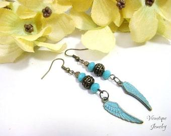 Angel Wing Earrings, Christian Jewelry, Religious Jewelry, Boho Earrings, Turquoise Blue Earrings, Bronze Earrings, Long Earrings