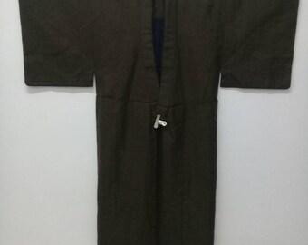 Vintage Japanese Kimono With Blanket Brown Colour And Plain Design/Wool Kimono/Heavy Kimono/Winter Wear/Winter Jacket/Long Sleeve