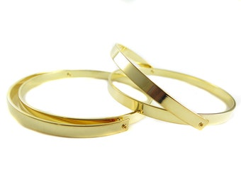 Gold Plated Round Hinge Engraving Cuff Bracelet Blank - (1x) (K421-C)