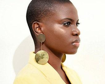 Long gold Brass Dangle Earrings, Dangle earrings,  Round dangle earrings,  boho dangle drop earrings, Long drop earrings, large earrings