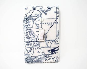 World Map Switch Plate Cover - Airplane Vintage Light Switch Cover - Vintage Map Light Plate