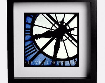 Clock, Paris, France, Orsay Museum, Blue Hour,  8x8 TTV-inspired Fine Art Print (MATTED to fit standard 12x12 frame)