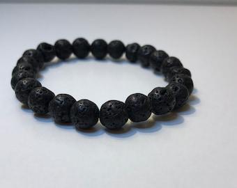 8mm Round Black Lava Stone Bracelet