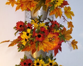 Fall floral 3tier metal planter