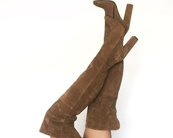 Edza Heidi Taube Suede Leather High Heel over the knee boots, thigh high boots, 39 40 41 42 8 9 10 11