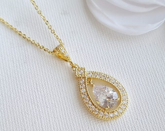 Wedding pendants etsy au gold bridal pendant necklace wedding jewelry clear cubic zirconia teardrop pendant necklace gold cz bridal necklace mozeypictures Images