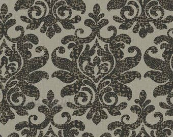 RC3718 Black and Taupe Leopard Damask Contemporay Wallpaper - Yard