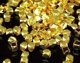 KG-191 thai karen hill tribe silver 50 gold vermeil mini facet bead