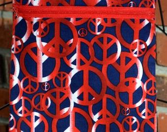 Handmade - Red White and Blue - Peace Sign Bag - Sling Bag, Cross Body Bag, Hipster, Travel Bag - Hands free