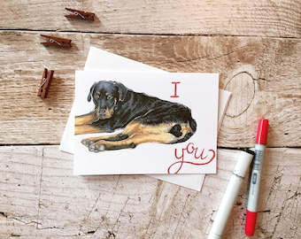 Mother's Day Rottweiler Card - Card for mom, Mother's day card, Cute Card For Mom, Mum, I Love You Card, Card for Wife, Card for Husband