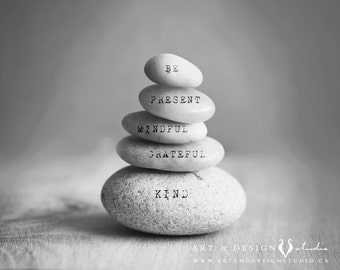 Yoga Decor, Mindfulness Gift, Zen Stones Art Print, Motivational Decor, Words to Inspire Art, Meditation Art, Inspirational Quote Wall Art