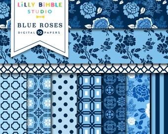 Navy Blue floral digital paper, BLUE ROSES, Floral scrapbook paper, French, Instant Download