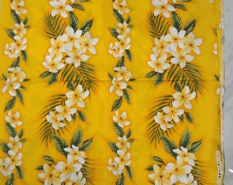 2 Yards Yellow Hawaiian Floral Print Fabric