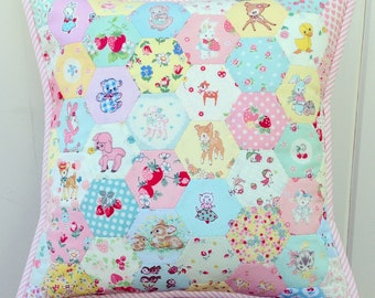 custom/made to order- sweet hexie pillow cover 14x14""