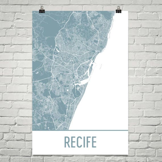 Recife Map Recife Art Recife Print Recife Brazil Poster