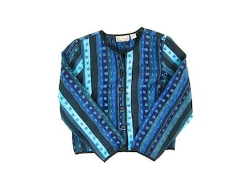 Vintage Quilted Jacket BOHO Ethnic Print Blazer Cropped Cotton Jacket Bohemian Blue Striped Coat Button Up Chenille Jacket Womens Medium