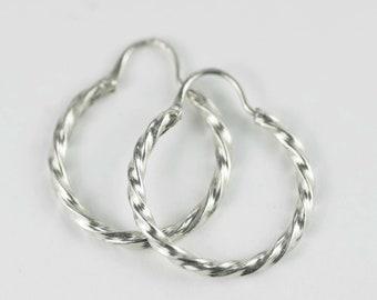 Vintage Sterling Silver Twisted Hoop Earrings Hand Made - Hallmarked