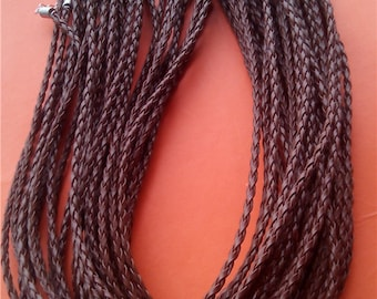 20pcs 17-19 inch adjustable Brown Braided Leather cord necklace including lobster clasps and extention chains size 3mm