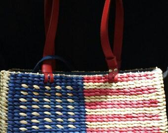New Patriotic Flag Handbag Purse Rattan