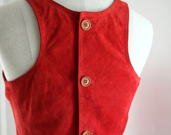 80s Vintage Suede Red Tank Top / Vintage Leather Crop Top / Boho Style Top Xs-S
