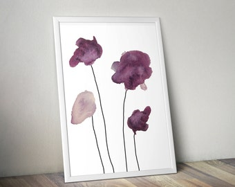 Four Purple Watercolor Flowers Wall Art Print - 11x14 PDF Instant Download