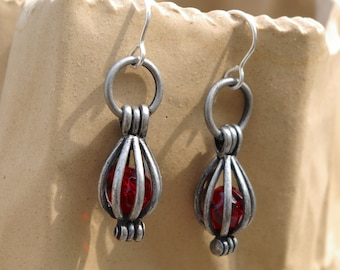 Caged Ruby Red Bead Earrings