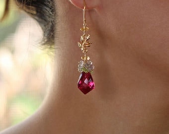 Gemstone Earrings Long Earrings Drop Earrings Pink Earrings Cluster Earrings Gold Earrings Statement Earrings Stone Earrings Pink Jewelry