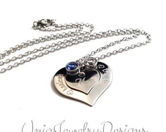 Personalized Mother Child Birthstone necklace + Birthstone Jewelry + Mother's Day Gift + Custom Heart Necklace