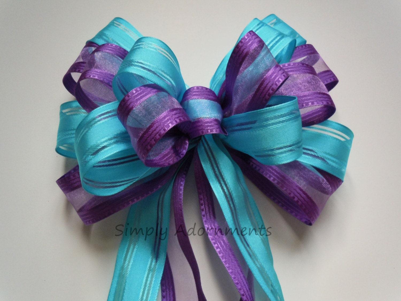 Purple Blue Wedding Pew Bow Turquoise Purple