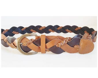 Tan & Brown Belt Braided Plaited Woven Western Cowgirl 1.5 Inches Wide Braid Effect Fit Up To 40 Inches Casual Boho