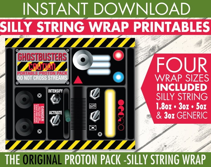 Ghost-busters Silly String Portable Proton Pack Label, Ghost-buster Birthday Party, Silly String Label | INSTANT Download PDF Printable Kit